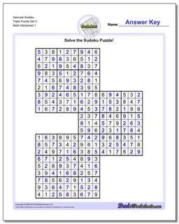 Printable Sudoku Puzzle Samurai Triple Puzzle Set 5