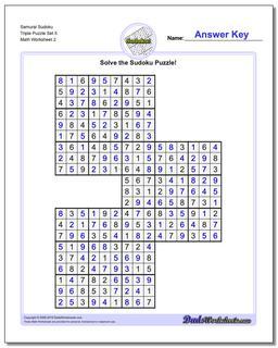 Samurai Sudoku Triple Puzzle Set 5 #Sudoku #Worksheet