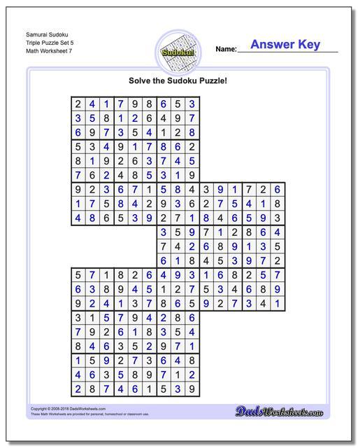 Samurai Sudoku Triple Puzzle Set 5