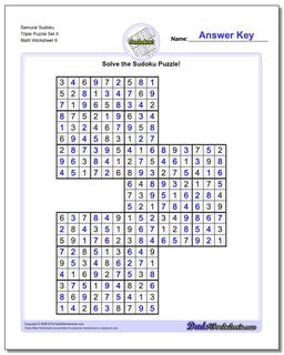 Samurai Sudoku Triple Puzzle Set 5 #Sudoku #Worksheet