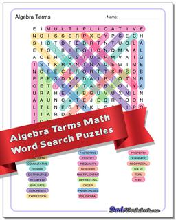 Advanced Math Word Search Puzzle