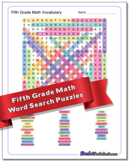 Grade Level Math Word Search Puzzle
