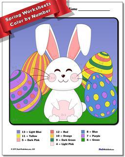 Spring Color by Number Worksheet #Addition #Worksheet #Color #By #Number