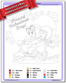 Addition Worksheet Color By Number
