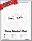 Valentine's Day Addition Color by Number Worksheet