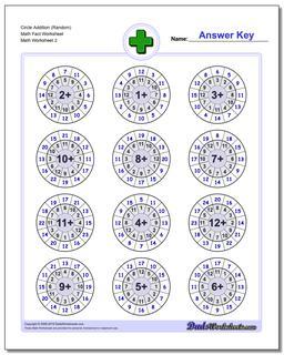 Circle Addition (Random) Math Fact Worksheet www.dadsworksheets.com/worksheets/addition.html