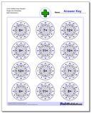 Circle Addition Easy Random Single Fact Worksheet www.dadsworksheets.com/worksheets/addition.html