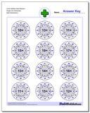 Circle Addition Hard Random Single Fact Worksheet