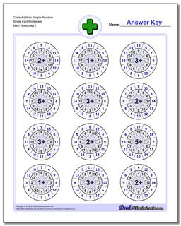 Addition Worksheet Circle Simple Random Single Fact Worksheet