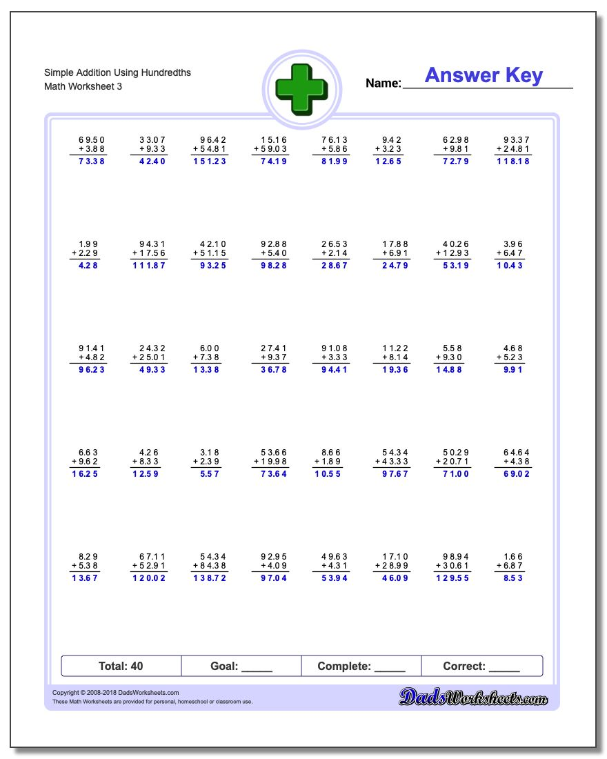 Simple Addition Worksheet Using Hundredths