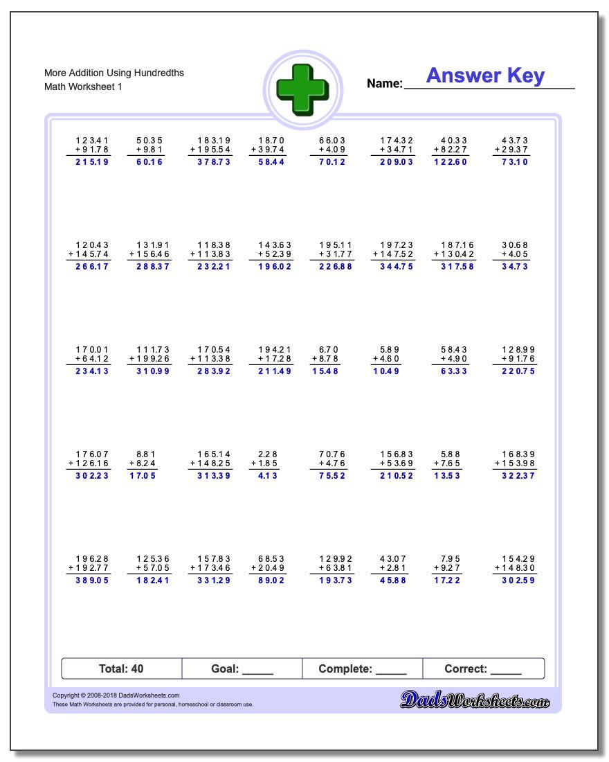 worksheet Addition Of Decimals Worksheets addition with decimals worksheet more using hundredths