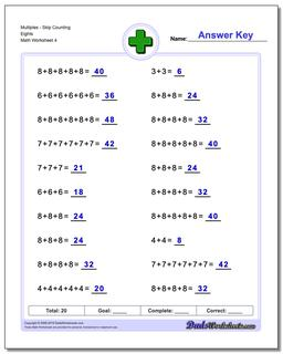 MultiplesSkip Counting Eights Worksheet #Addition #Worksheet