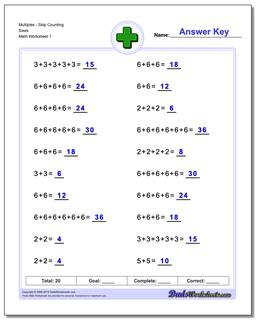 MultiplesSkip Counting Sixes Worksheet #Addition #Worksheet