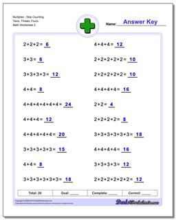 MultiplesSkip Counting Twos, Threes, Fours Worksheet #Addition #Worksheet