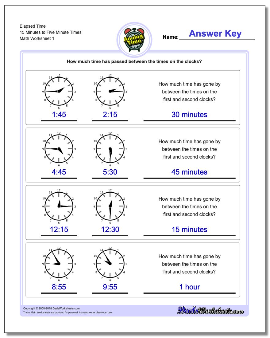 Analog Elapsed Time 15 Minutes to Five Minute Times Worksheet
