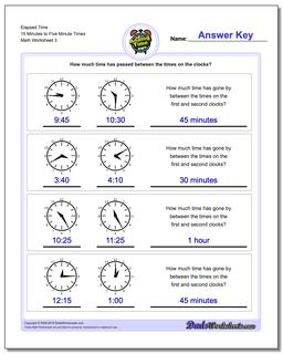 Elapsed Time 15 Minutes to Five Minute Times Worksheet #Analog #Elapsed #Time #Worksheet