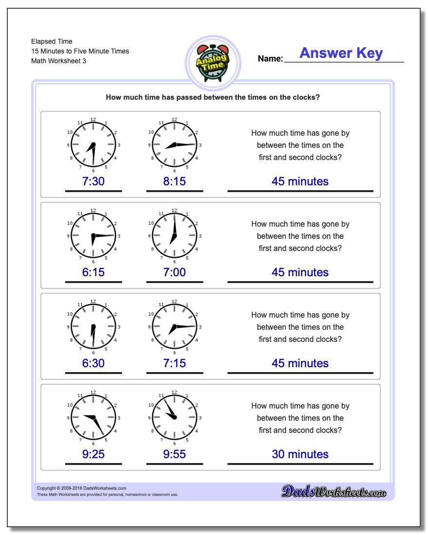 Dads worksheets elapsed time