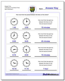 Elapsed Time 15 Minutes to Five Minute Times Worksheet #Analog #Elapsed #Time #Worksheet