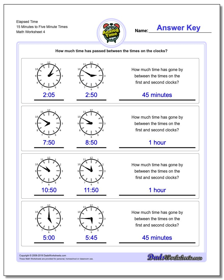 Elapsed Time 15 Minutes to Five Minute Times Worksheet