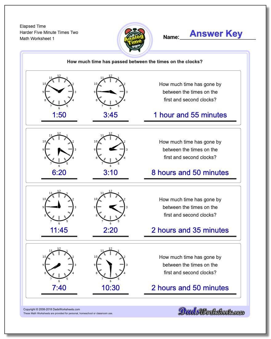 Analog Elapsed Time Harder Five Minute Times Two Worksheet