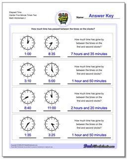 Elapsed Time Harder Five Minute Times Two Worksheet #Analog #Elapsed #Time #Worksheet