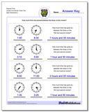 Elapsed Time Harder Five Minute Times Two www.dadsworksheets.com/worksheets/analog-elapsed-time.html Worksheet