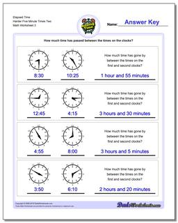 Elapsed Time Harder Five Minute Times Two Worksheet #Analog #Elapsed #Time #Worksheet