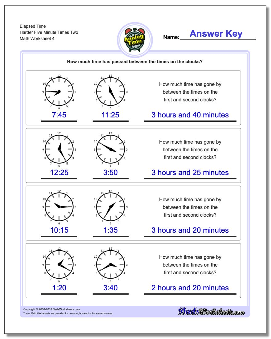 Elapsed Time Harder Five Minute Times Two Worksheet