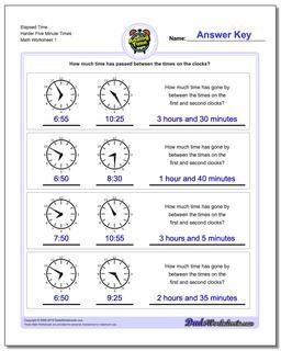Analog Elapsed Time Harder Five Minute Times Worksheet