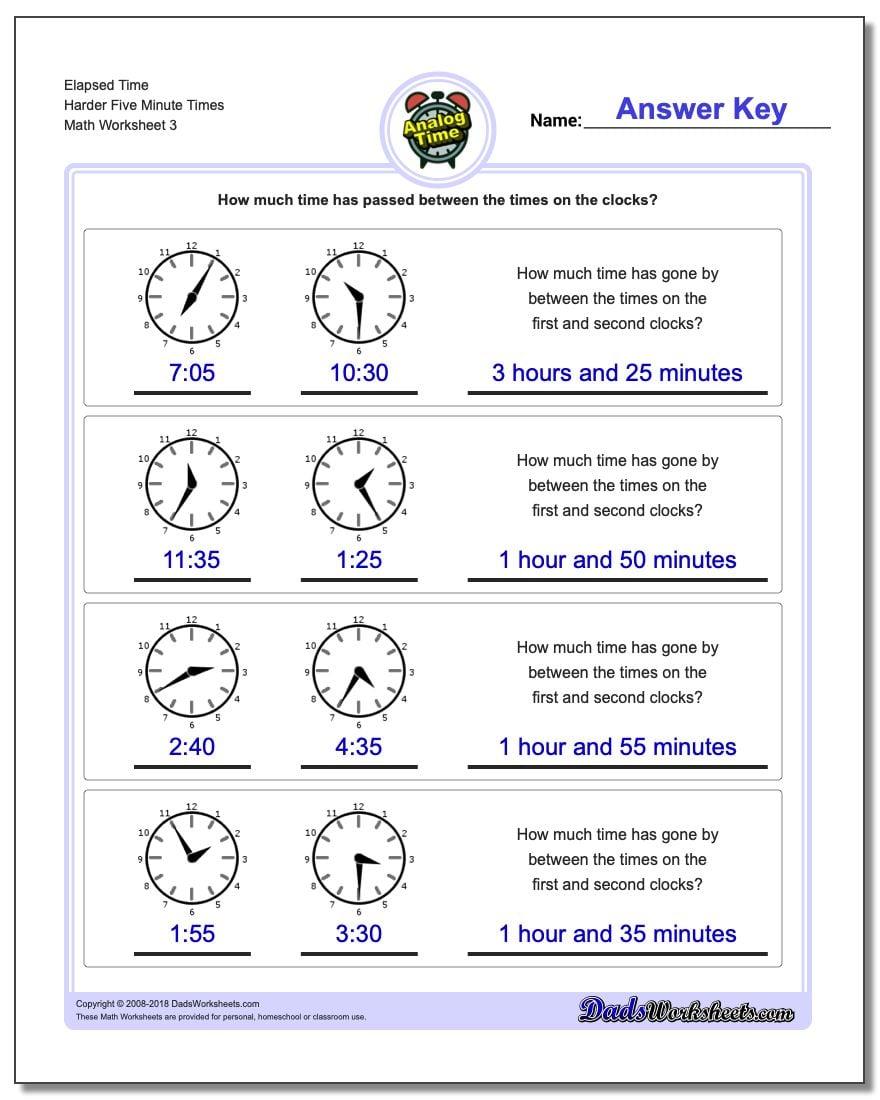 Elapsed Time Harder Five Minute Times Worksheet
