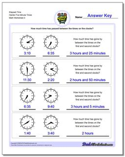 Elapsed Time Harder Five Minute Times Worksheet #Analog #Elapsed #Time #Worksheet