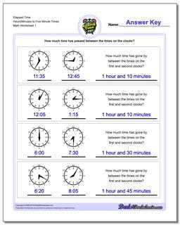 Elapsed Time Hours/Minutes to Five Minute Times Worksheet #Analog #Elapsed #Time #Worksheet