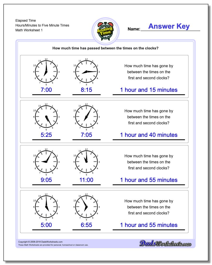 Analog Elapsed Time Hours/Minutes to Five Minute Times Worksheet
