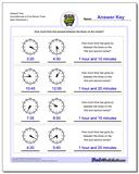 Elapsed Time Hours/Minutes to Five Minute Times www.dadsworksheets.com/worksheets/analog-elapsed-time.html Worksheet