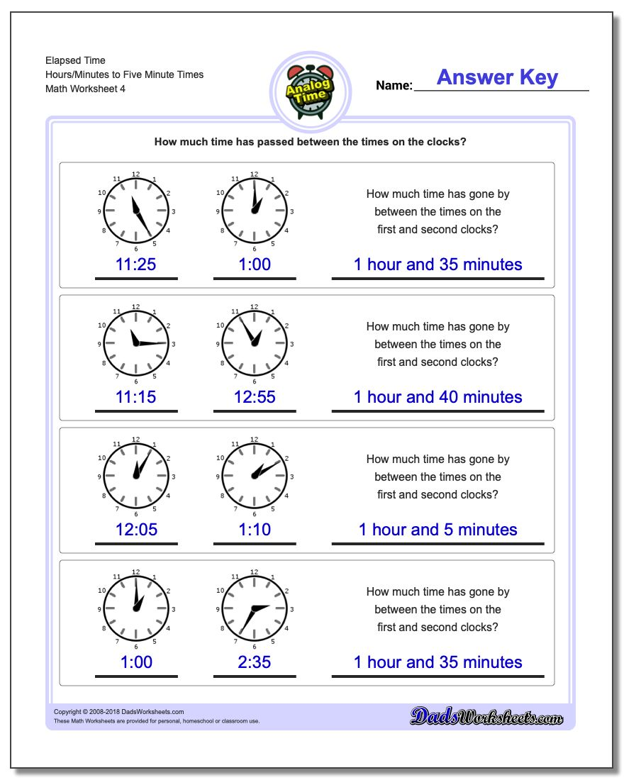 Elapsed Time Hours/Minutes to Five Minute Times Worksheet