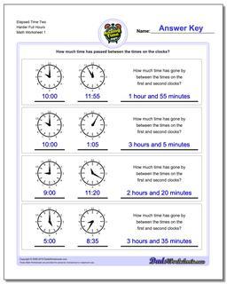 Analog Elapsed Time Two Harder Full Hours Worksheet