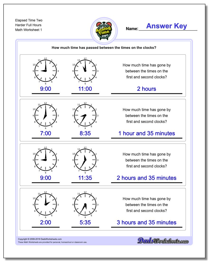 Analog Elapsed Time Two Harder Full Hours Worksheet