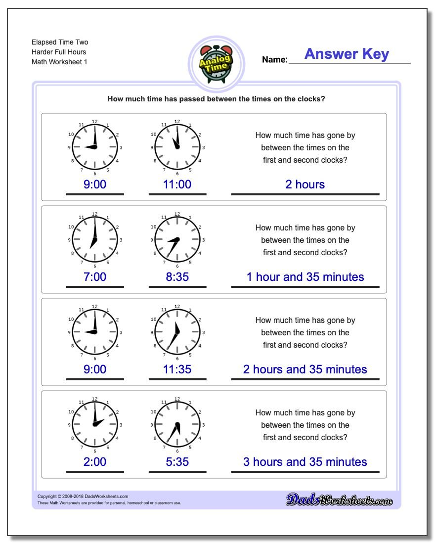 Analog Elapsed Time Two Harder Full Hours Worksheets