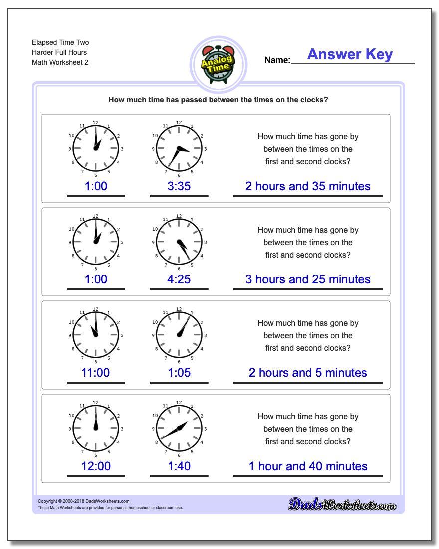 Elapsed Time Two Harder Full Hours www.dadsworksheets.com/worksheets/analog-elapsed-time.html Worksheet