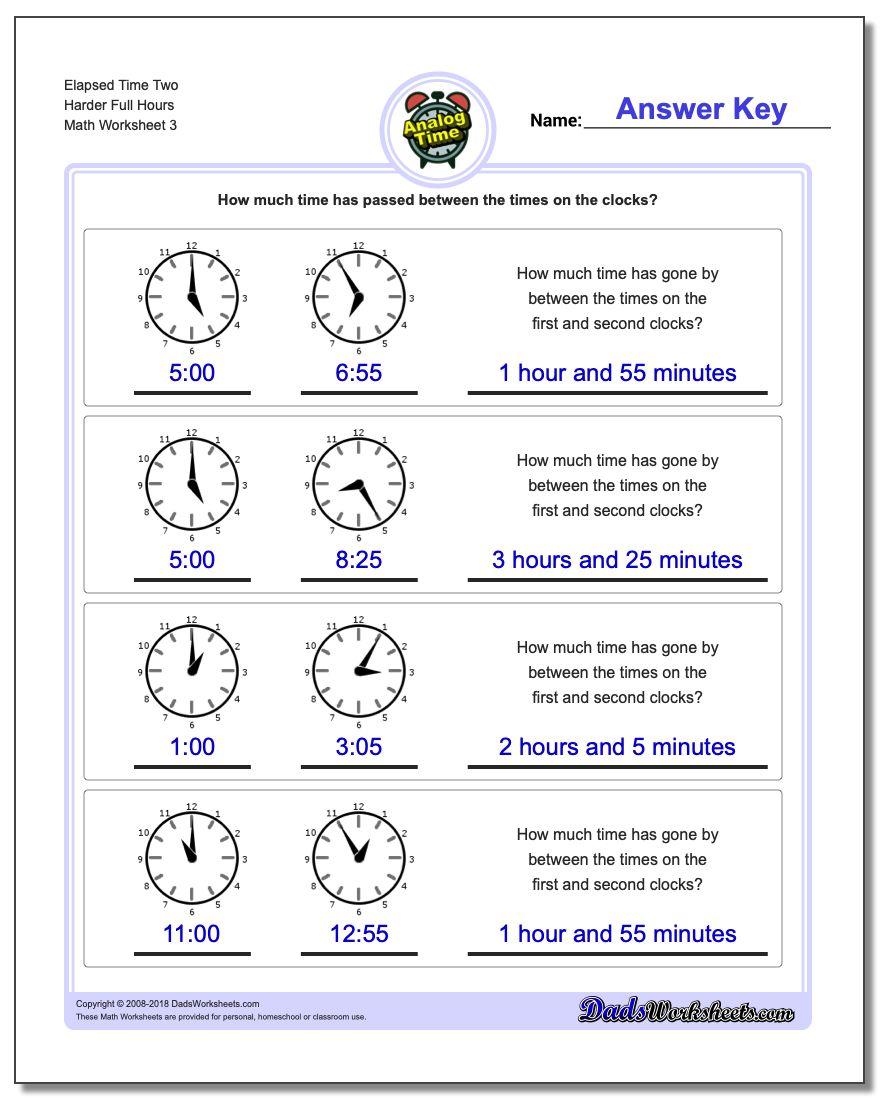 Elapsed Time Two Harder Full Hours Worksheet
