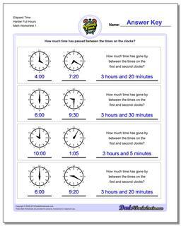 Analog Elapsed Time Harder Full Hours Worksheet