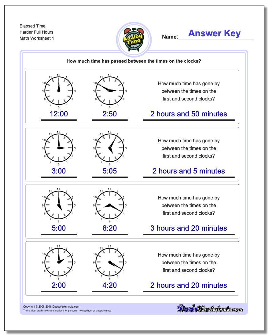 Analog Elapsed Time Harder Full Hours Worksheets