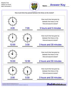 Elapsed Time Harder Full Hours Worksheet #Analog #Elapsed #Time #Worksheet