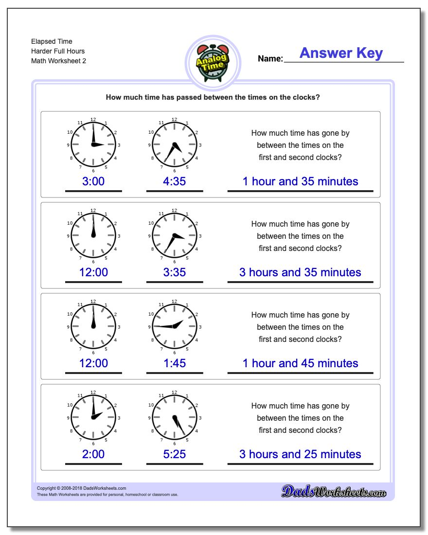 Elapsed Time Harder Full Hours www.dadsworksheets.com/worksheets/analog-elapsed-time.html Worksheet