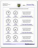 Elapsed Time Two Hours/Minutes to Full Hours www.dadsworksheets.com/worksheets/analog-elapsed-time.html Worksheet