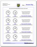 Elapsed Time Two Hours/Minutes to Full Hours Worksheet