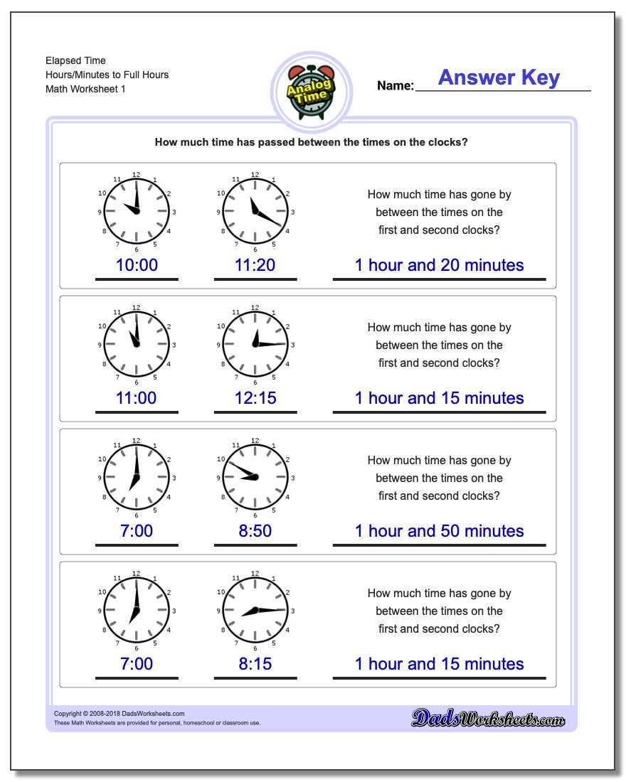 Analog Elapsed Time Hours/Minutes to Full Hours Worksheets
