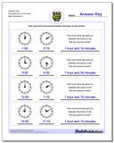 Elapsed Time Hours/Minutes to Full Hours Worksheet