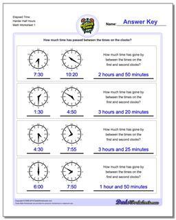 Elapsed Time Harder Half Hours Worksheet #Analog #Elapsed #Time #Worksheet
