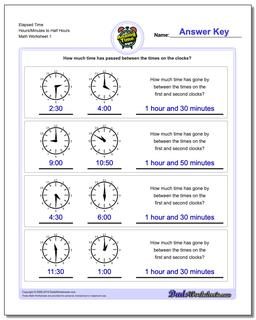 Analog Elapsed Time Hours/Minutes to Half Hours Worksheet